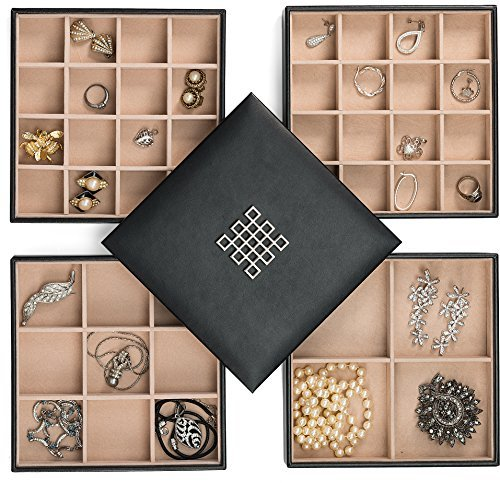 Glenor Co Earring Organizer Tray – 4 Stackable Trays with Lid -45 Slot Classic Jewelry Storage Display Case for Drawer or Dresser – Holder for Earring Ring Necklace or Cufflinks – Large Mirror – Black