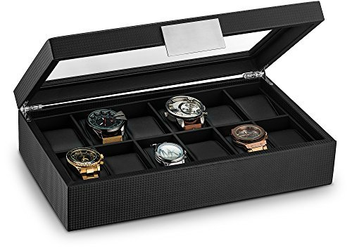 Glenor Co Watch Box for Men – 12 Slot Luxury Carbon Fiber Design Display Case, Large Holder, Metal Buckle – Black