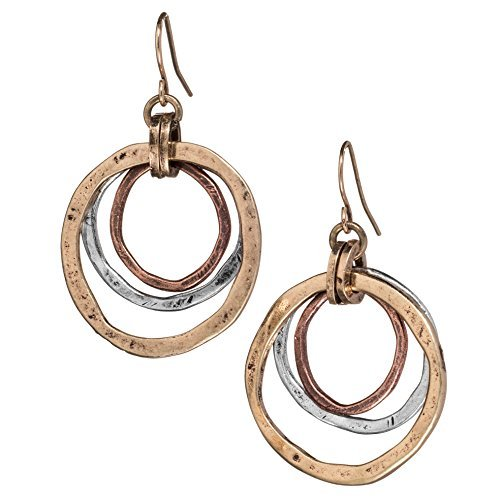 Handmade Sunrise Tricolor Dangle Earrings – Burnished Circles, Copper, Brass and Silverplated