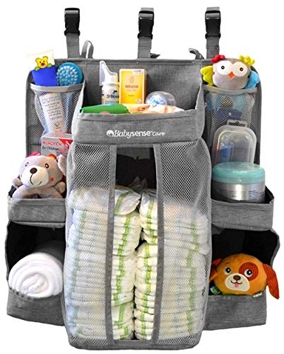Hanging Diaper Caddy Organizer for Changing Table, Crib   Stain-Resistant Diaper Stacker   6 Shelves & 2 Pockets ● Nursery Organizer for Baby Girl/Boy with Reinforced Stitching & 3 Buckle Straps