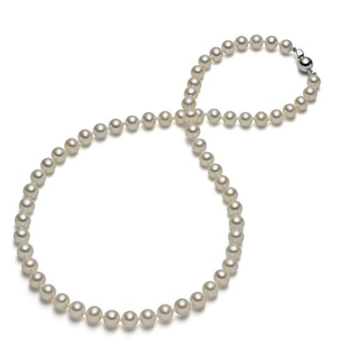 HinsonGayle AAA Handpicked 6.5-7mm White Round Freshwater Cultured Pearl Necklace Silver-18 in length