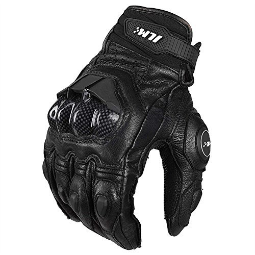 ILM Air Flow Leather Motorcycle Gloves for Men and Women (L, Black)