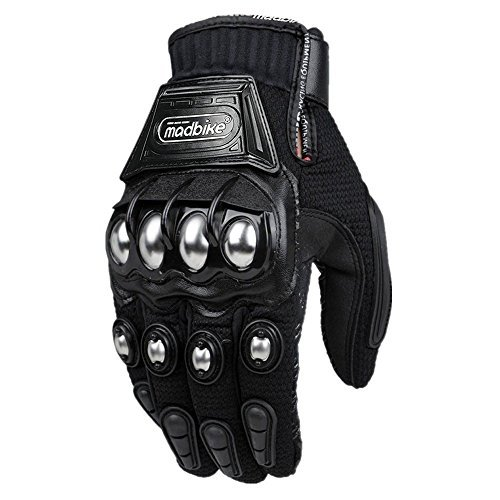 ILM Alloy Steel Knuckle Motorcycle Motorbike Powersports Racing Tactical Paintball Gloves (L, BLACK)