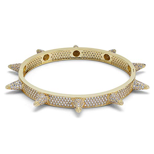 JINAO Lab Simulated Diamond Iced Out Spikes Cuff bangle bracelet (Gold)