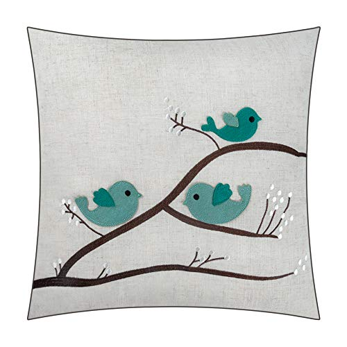JWH Applique Accent Pillow Cases Wool Linen Decorative Cushion Covers Home Sofa Car Bed Living Room Office Chair Decor Pillowcases 18 x 18 Inch Birds Family on Tree