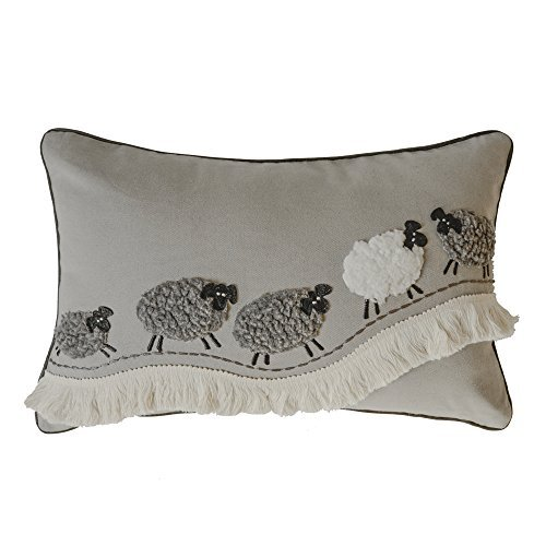JWH Sheep Applique Accent Pillow Case Cashmere Cushion Cover Handmade Pillowcase for Home Sofa Car Bed Living Room Office Chair Decor Pillowslip 12 x 20 Inch Sheeps on Prairie
