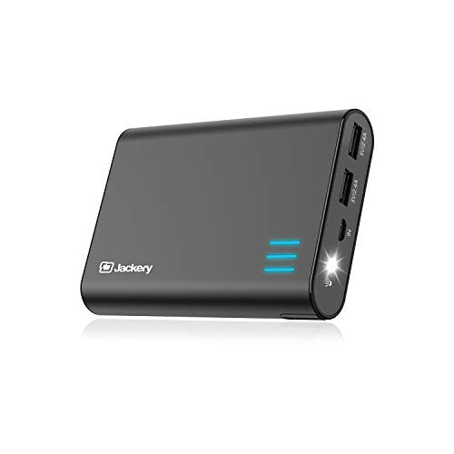 Jackery Portable Charger Giant+ 12000mAh Power Outdoors Dual USB Output Battery Pack Travel Backup Power Bank with Emergency LED Flashlight for iPhone, Samsung and Other Smart Devices – Black