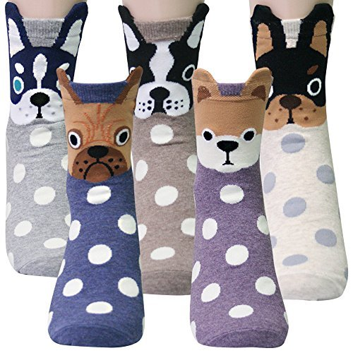 KONY Women's Girls Funny Crew Novelty Socks with Dogs Cats Owls Giraffe Cute Animals Printed Colorful Pattern (Dot Dogs with Ear- 5 pairs)