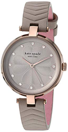 Kate Spade Women's annadale Stainless Steel Quartz Watch with Leather Strap, Gray, 12 (Model: KSW1575)