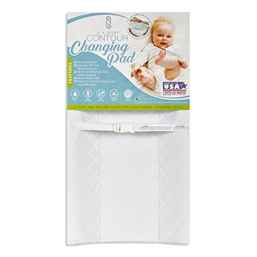 LA Baby Waterproof Contour Changing Pad, 32″ – Made in USA. Easy to Clean w/Non-Skid Bottom, Safety Strap, Fits All Standard Changing Tables/Dresser Tops for Best Infant Diaper Change