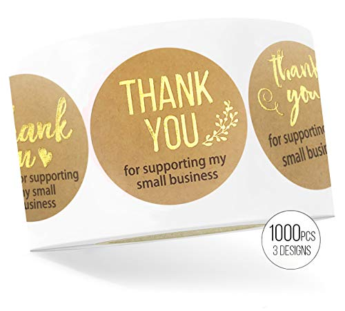LaPaper – Thank You For Supporting My Small Business Kraft Stickers with Gold Foil   Round 1,5 inches   Bulk 1000 Labels Per Roll   For Business, Kraft Makers, Online Sellers, Boutiques, Small Shops