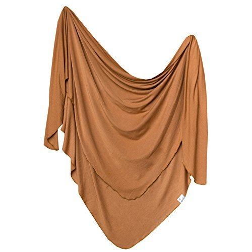 """Large Premium Knit Baby Swaddle Receiving Blanket""""Camel"""" by Copper Pearl"""