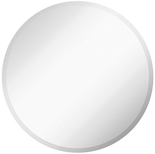 Large Simple Round 1 Inch Beveled Circle Wall Mirror | Frameless 30 Inch Diameter Circular Mirror With a Silver Backed Rounded Mirrored Glass Panel | Best for Vanity, Bedroom, or Bathroom (30″ x 30″)