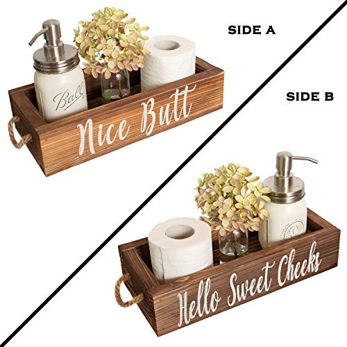 MAINEVENT Nice Butt Bathroom Decor Box, 2 Sides – Funny Gift, Funny Toilet Paper Holder Perfect for Farmhouse Bathroom Decor, Toilet Paper Storage, Rustic Bathroom Decor, or Diaper Organizer (Brown)