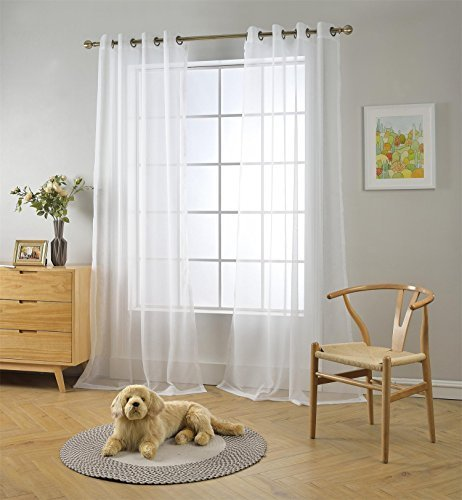 MIUCO 2 Panels White Curtains Grommet Textured Solid Sheer Curtains 63 Inches Long for Living Room (2 x 54 Wide x 63″ Long) White