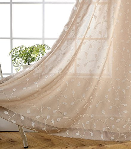MIUCO Floral Embroidery Semi Sheer Curtains Faux Linen Grommet Window Curtains for Bedroom 52 x 63 Inch 2 Panels, Linen