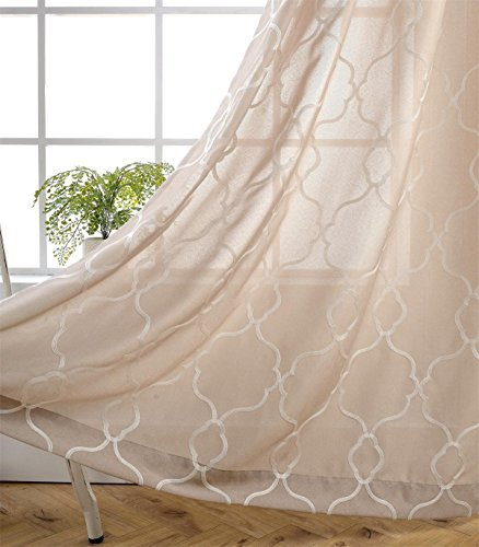 MIUCO Moroccan Embroidery Semi Sheer Curtains Faux Linen Grommet Window Curtains for Bedroom 52 x 63 Inch 2 Panels, Linen