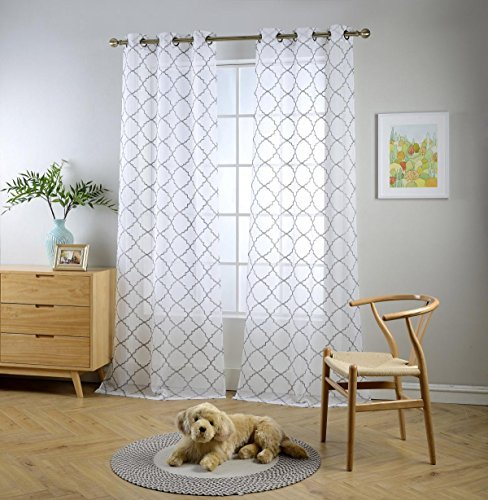 MIUCO White Sheer Curtains Embroidery Trellis Design Grommet Curtains 84 Inches Long for Living Room 2 Panels (2 x 37 Wide x 84″ Long) White/Silver Embroidery