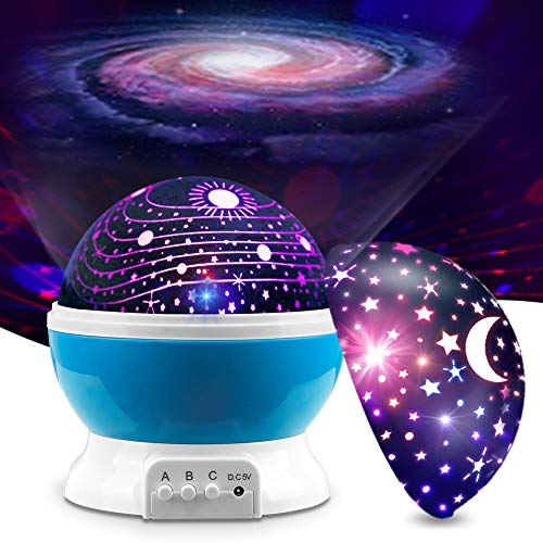MOKOQI Baby Night Light Lamps for Bedroom Romantic 360 Degree Rotating Star with Sky Moon Cover +Cosmos Cover Projector Lights Color Changing LED for Children Kids Girls Baby Nursery Gift (Sky Blue)