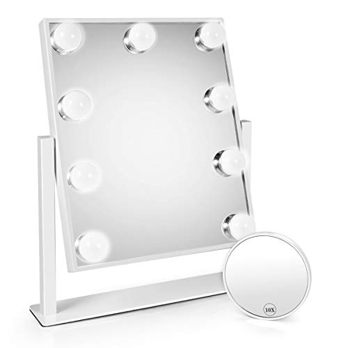 Makeup Led Mirror, Lighted Makeup Mirrors with Lights and Magnifying Upgraded Cosmetic Mirror with 9 Dimmable Bulbs and 3 Color Lighting Modes Hollywood Vanity Professional Smart Touch Control Mirror