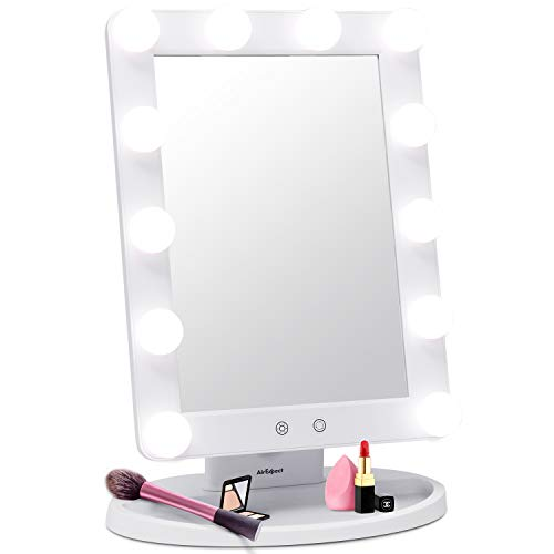 Makeup Vanity Mirror with Light Bulbs – 3 Color Lighting Modes Hollywood Style Tabletops Lighted Cosmetic Mirror with 12 Dimmable LED Bulbs and Touch Control Design