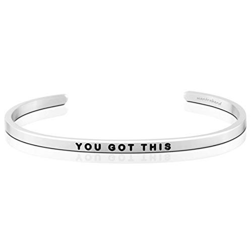 MantraBand Bracelet – You Got This – Inspirational Engraved Adjustable Mantra Band Cuff Bracelet – Silver – Gifts for Women (Grey)