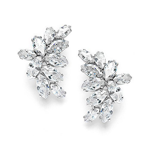Mariell Cubic Zirconia Marquis-Cut Graceful Curved Cluster Bridal Wedding Earrings – Platinum Plated