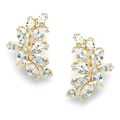 Mariell Shimmery Marquis Cluster Cubic Zirconia Bridal or Special Occasion Earrings – 14K Gold Plated