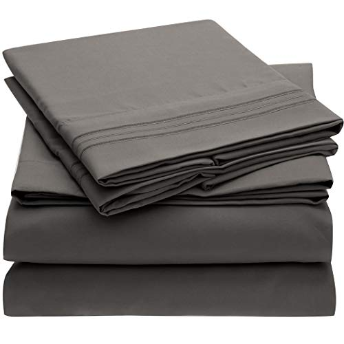 Mellanni Bed Sheet Set – Brushed Microfiber 1800 Bedding – Wrinkle, Fade, Stain Resistant – Hypoallergenic – 4 Piece (King, Gray)