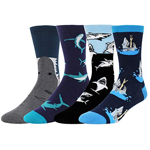 Men's Novelty Funny Shark Attack Crew Socks, Crazy Cool Sea Animal Patterned