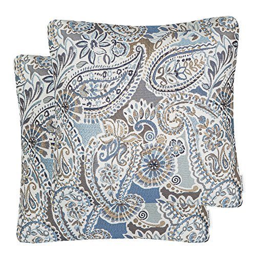 Mika Home Pack of 2 Decorative Accent Throw Pillow Cover Sham Cushion Case,Paisley Pattern,20×20 Inches,Blue Brown Cream Multicolor