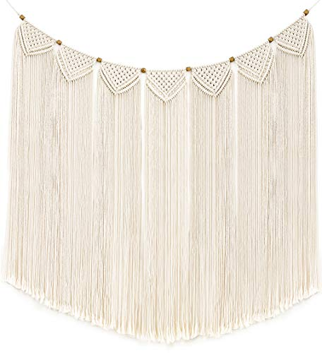 Mkono Macrame Wall Hanging Curtain Fringe Garland Banner Bohemian Wall Decor Woven Home Decoration for Apartment Bedroom Living Room Gallery Baby Nursery, 47″ L X 28″ W