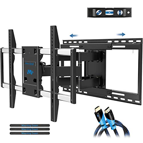 Mounting Dream TV Mount with Sliding Design for 42-70 Inch TVs, Easy for TV Centering on Wall, Full Motion TV Wall Mount Fits Most Smart OLED TVs – Easy to Install on 16″~ 24″ Studs, Extend to 19″