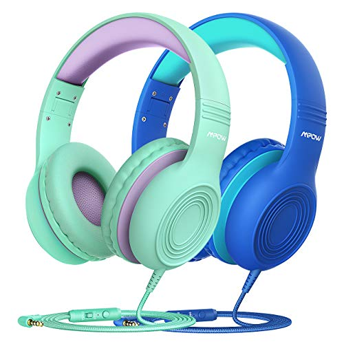Mpow CH6S [2 Pack] Kids Headphones with Safety 85dB Volume Limited, Wired On-Ear Headsets for Kids, Food Grade Silicone, Lightweight, Comfortable Children Headphones for School