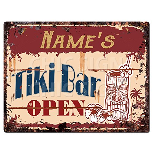 Name's Tiki Bar Open Custom Personalized Tin Chic Sign Rustic Vintage Style Retro Kitchen Bar Pub Coffee Shop Decor 9″x 12″ Metal Plate Sign Home Store Man cave Decor Gift Ideas