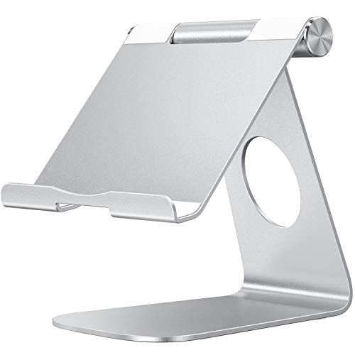 OMOTON Adjustable Tablet Stand iPad Stand Compatible with iPad 10.2 2019, New iPad Pro 11/12.9 inch 2020, iPad 9.7 2018, iPad Mini, iPad Air, Nintendo Switch, and All Cellphones Smart Phones, Silver