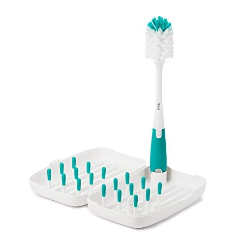 OXO Tot Travel Size Drying Rack with Bottle Brush- Teal