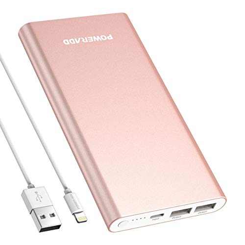 POWERADD Pilot 4GS 12000mAh 8-Pin Input Portable Charger External Battery Pack with 3A High-Speed Output Compatible with iPhone, iPad, iPod and More – Rose Gold (8 Pin Cable Include)