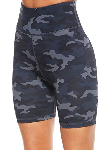 Persit Yoga Shorts for Women Spandex High Wasited Running Athletic Biker Workout Leggings Tight Fitness Gym Shorts with Pockets – Deep Grey Camo – M