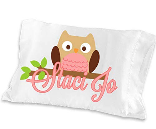 Personalized Owl Pillowcase (Toddler Travel 13 x 20, Pink Owl) for Kids Pink Pillow Case for Girls Birthday