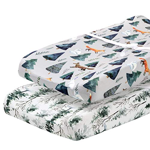 Pobi Baby – 2 Pack Premium Quality Changing Pad Cover – Ultra-Soft Cotton Blend, Stylish Animal Woodland Pattern, Safe and Snug for Baby (Magical)