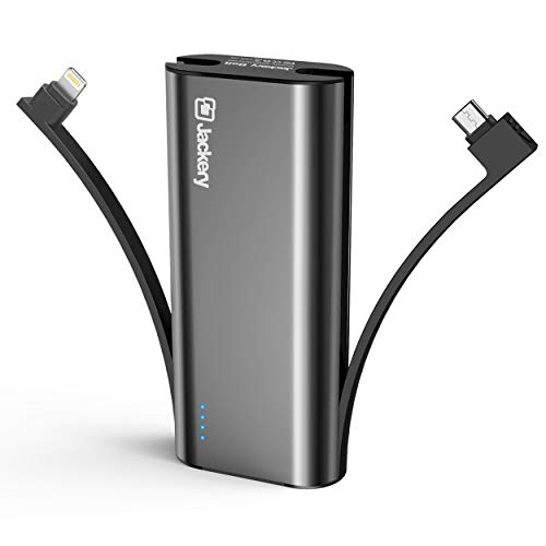 Portable Charger Jackery Bolt 6000 mAh Power Outdoors – Power bank with built in Lightning Cable [Apple MFi certified] iPhone Battery Charger External Battery, TWICE as FAST as Original iPhone Charger