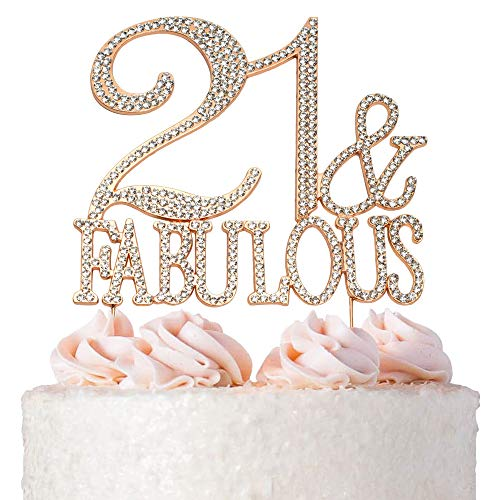Premium Metal 21 and Fabulous Rose Gold Rhinestone Gem Cake Topper. Perfect 21st Birthday Party Keepsake and Decoration. Sparkling, Crystal and Diamond Style Bling Makes a Great Centerpiece. 21&Fab RG