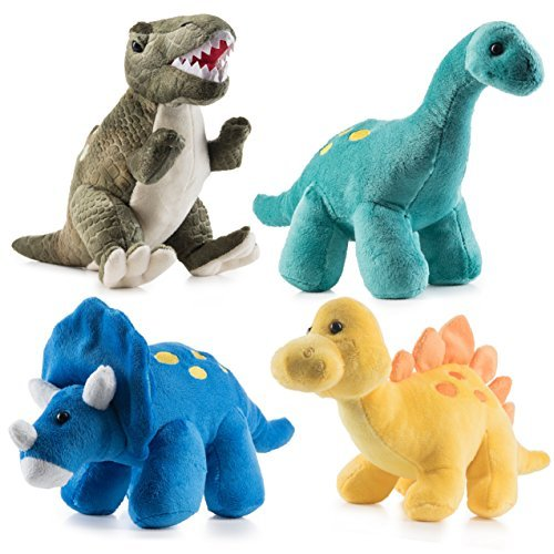 "Prextex High Qulity Plush Dinosaurs 4 Pack 10"" Long Great Gift for Kids Stuffed Animal Assortment Great Set for Kids"