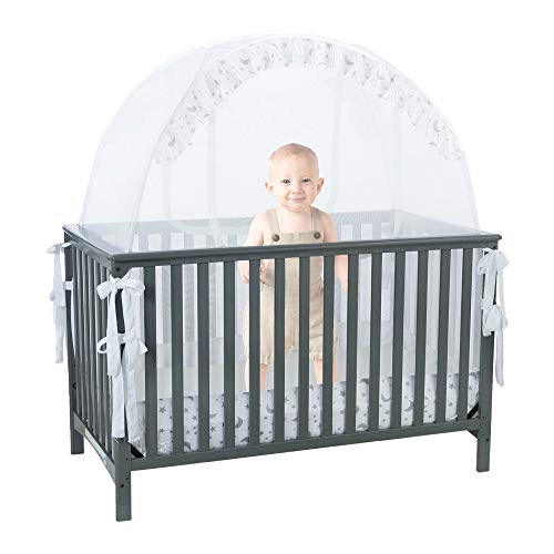 Pro Baby Safety Pop up Crib Tent: Premium Baby Bed Canopy Netting Cover – See Through Mesh Nursery Mosquito Net – Stylish and Sturdy Unisex Infant Crib Tent Net – Protect Your Baby from Falls or Bites