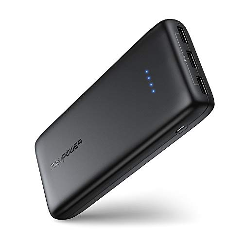 RAVPower Portable Charger 22000mAh, External Battery Pack Power Bank with 3 USB Output , High-Capacity Phone Charging Pack Compatible with iPhone 11, Samsung Galaxy, iPad, and More