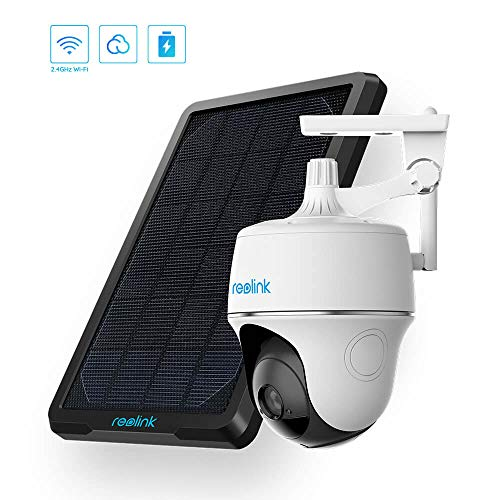 Reolink Argus PT w/Solar Panel – Wireless Pan Tilt Solar Powered WiFi Security Camera System w/Rechargeable Battery Outdoor Home Surveillance, 2-Way Audio, Support Alexa/Google Assistant/Cloud
