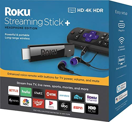 Roku – Streaming Stick+ 4K Headphone Edition with Voice Remote with TV Power and Volume Streaming Media Player