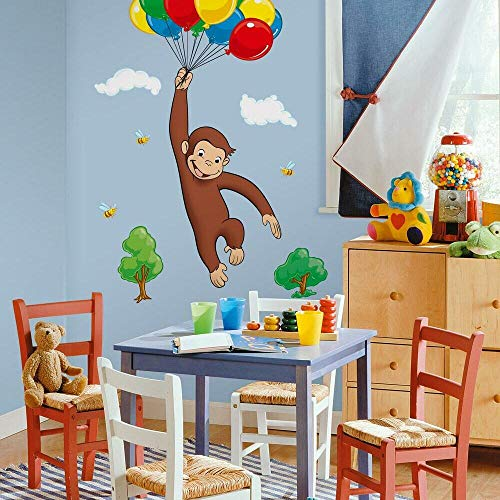 RoomMates Curious George Peel and Stick Giant Wall Decal – RMK1082GM,Multi