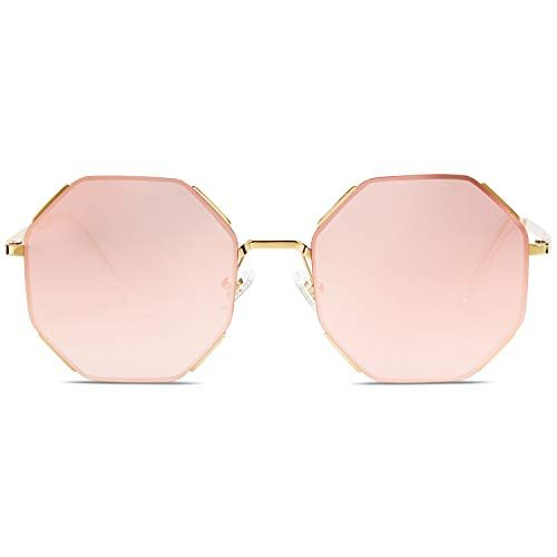 SOJOS Sunglasses for Women Polygon Sunglasses UV400 AURA SJ1128 with Gold Frame/Gradient Pink Mirrored Lens